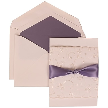 JAM Paper® Wedding Invitation Set, Large, 5.5 x 7.75, White with Purple Lined Envelopes and Purple Ribbon, 50/Pack (304024966)
