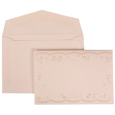 JAM Paper® Wedding Invitation Set, Small, 3.38 x 4.75, White Card with Embossed Flower Border, White Env, 100/Pack (304024967)