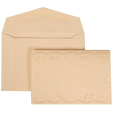 JAM Paper® Wedding Invitation Set, Small, 3.38 x 4.75, Ivory with Ivory Envelopes and Brown Ribbon, 100/Pack (304124977)