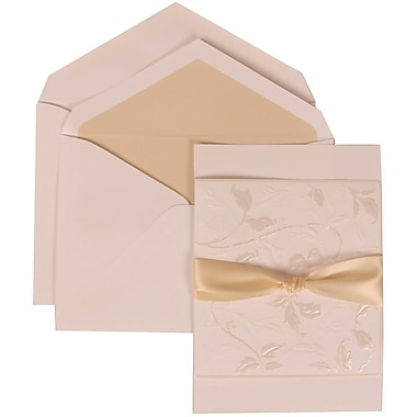 JAM Paper® Wedding Invitation Set, Large, 5.5 x 7.75, White, Flowers, Ecru Ribbon, Ivory Lined Envelopes, 50/Pack (304225012)