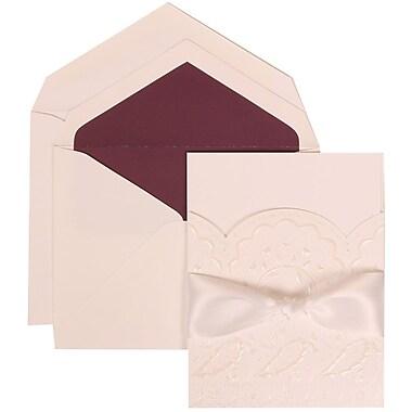 JAM Paper® Wedding Invitation Set, Large, 5.5 x 7.75, White, Flowers, White Ribbon, Dk Red Lined Envelopes, 50/Pack (304325159)