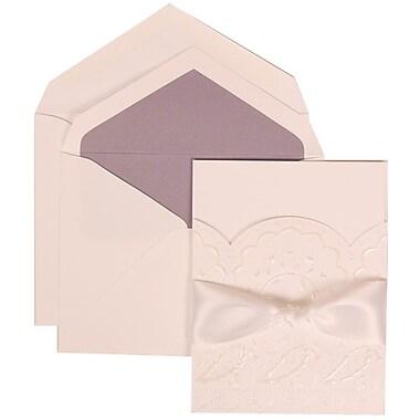 JAM Paper® Wedding Invitation Set, Large, 5.5 x 7.75, White, Flower, White Ribbon, Orchid Lined Envelopes, 50/Pack (304325160)