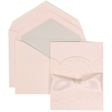 JAM Paper® Wedding Invitation Set, Large, 5.5 x 7.75, White, Flowers, White Ribbon, Lt Blue Lined Envelopes, 50/Pack (304325161)