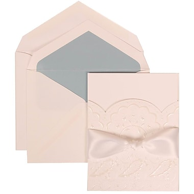 JAM Paper® Wedding Invite Set, Large, 5.5 x 7.75, White Cards with Flowers, Ribbon, Blue Lined Envelopes, 50/pack (304325162)