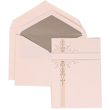 JAM Paper® Wedding Invitation Set, Large, 5.5 x 7.75, White with Silver Lined Envelopes and Silver Vines, 50/Pack (304824670)