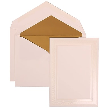 JAM Paper® Wedding Invitation Set, Large, 5.5 x 7.75, White, Ivory Embossed Border, Gold Lined Envelopes, 50/Pack (304924644)