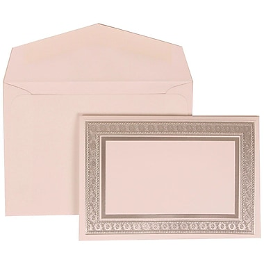 JAM Paper® Wedding Invitation Set, Small, 3.38 x 4.75, White Cards with Silver Border, White Envelopes, 100/Pack (305224674)