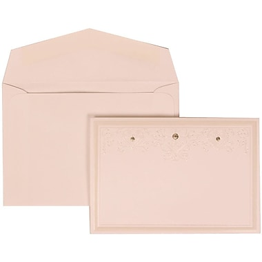 JAM Paper® Wedding Invitation Set, Small, 3.38 x 4.75, White Cards, Ivory Heart Jewels, White Envelopes, 100/Pack (305424695)
