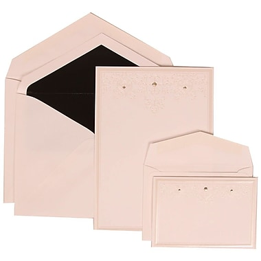 JAM Paper® Wedding Invitation Combo, 1 Sm 1 Lg, White Cards, Ivory Heart Jewels, Black Lined Envelopes, 150/pack (305424696)