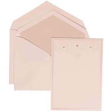 JAM Paper® Wedding Invitation Set, Large, 5.5 x 7.75, White, Ivory Heart Jewels, Crystal Lined Envelopes, 50/Pack (305424697)