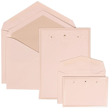 JAM Paper® Wedding Invitation Combo Sets, 1 Sm 1 Lg, White, Ivory Heart Jewels, Crystal Lined Envelopes, 150/Pack (305424698)
