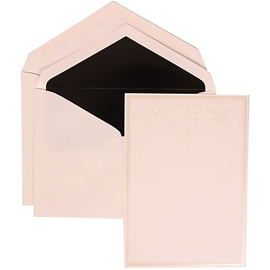 JAM Paper® Wedding Invite Set, Large, 5.5 x 7.75 Cards, White, Ivory Heart Jewels, Black Lined Envelopes, 50/pack (305424701)