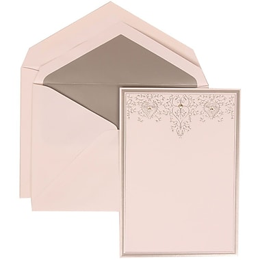 JAM Paper® Wedding Invitation Set, Large, 5.5 x 7.75, White, Silver Heart Jewels, Silver Lined Envelopes, 50/Pack (305524713)
