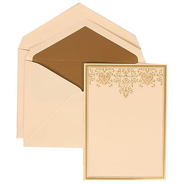 JAM Paper® Wedding Invitation Set, Large, 5.5 x 7.75, Ivory, Gold Heart Jewel Design, Gold Lined Envelopes, 50/Pack (305624722)