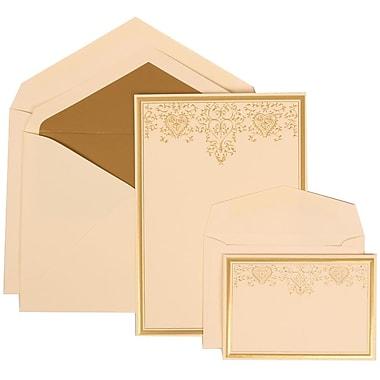 JAM Paper® Wedding Invitation Combo Sets, 1 Sm 1 Lg, Ivory, Gold Lined Envelopes, Gold Heart Jewel Design, 150/Pack (305624731)