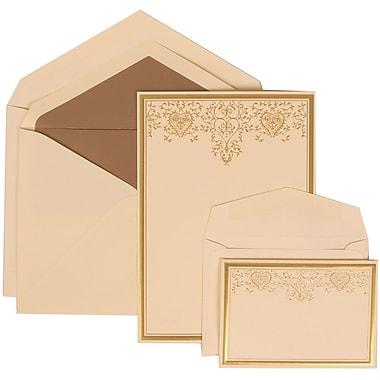 JAM Paper® Wedding Invitation Combo Sets, 1 Sm 1 Lg, Ivory Cards, Taupe Lined Envelopes, Gold Heart Jewel, 150/Pack (305624733)