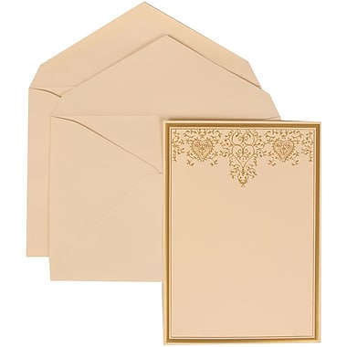 JAM Paper® Wedding Invitation Set, Large, 5.5 x 7.75, Ivory, Gold Heart Jewel Design, Ivory Lined Envelopes, 50/Pack (305624734)
