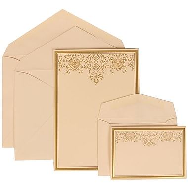 JAM Paper® Wedding Invitation Combo Sets, 1 Sm 1 Lg, Ivory, Ivory Lined Envelopes, Gold Heart Jewel Design, 150/Pack (305624735)