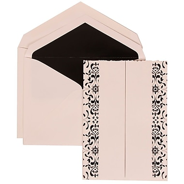 JAM Paper® Wedding Invitation Set, Large, 5.5 x 7.75, White with Black Lined Envelopes and Black Castilian, 50/Pack (305724745)