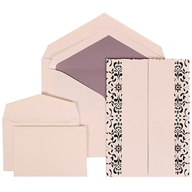 JAM Paper® Wedding Invitation Combo Sets, 1 Sm 1 Lg, White Cards, Black Castilian, Purple Lined Envelopes, 150/Pack (305724751)