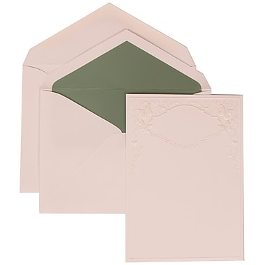 JAM Paper® Wedding Invitation Set, Large, 5.5 x 7.75, White, Butterfly Vines, Sage Green Lined Envelopes, 50/Pack (305825259)