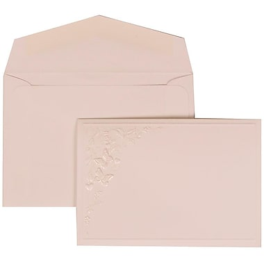 JAM Paper® Wedding Invitation Set, Small, 3.38 x 4.75, White with White Envelopes and Butterfly Vines, 100/Pack (305825260)