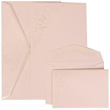 JAM Paper® Wedding Invitation Combo Sets, 1 Sm 1 Lg, White Cards, Butterfly Vines Design, White Envelopes, 150/Pack (305825263)
