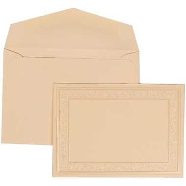 JAM Paper® Wedding Invitation Set, Small, 3.38 x 4.75, Ivory Cards, Ivory Heart Border, Ivory Envelopes, 100/Pack (305924758)