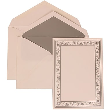 JAM Paper® Wedding Invite Set, Large, 5.5 x 7.75, White Cards, Silver Lily Border, Silver Lined Envelopes, 50/pack (306024763)