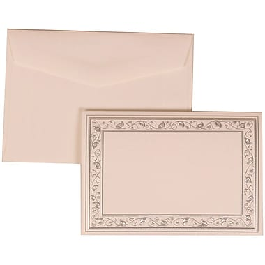 JAM Paper® Wedding Invite Set, Small, 3 3/8 x 4 3/4, White Foldover Cards, Silver Border, White Envelopes,100/pack (306024765)