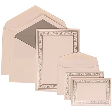 JAM Paper® Wedding Invitation Combo, 1 Sm 1 Lg, White Cards, Silver Lily Border, Silver Lined Envelopes, 150/pack (306024768)