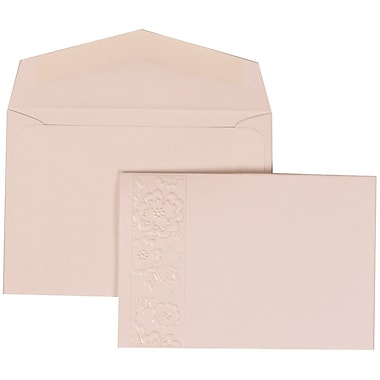 JAM Paper® Wedding Invitation Set, Small, 3.38 x 4.75, White with White Envelopes and Embossed Window, 100/Pack (306124769)