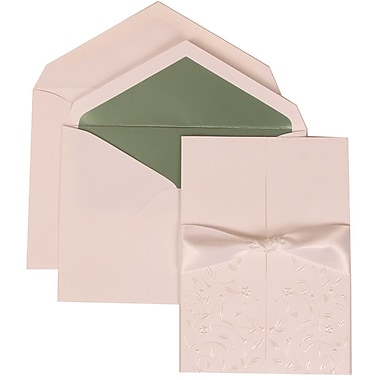 JAM Paper® Wedding Invite Set, Large, 5.5 x 7.75, White Cards, Heart Garden Ribbon, Green Lined Envelopes, 50/pack (306224780)