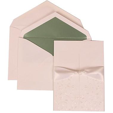 JAM Paper® Wedding Invitation Set, Large, 5.5 x 7.75, White Cards, Heart Garden Ribbon, Green Lined Envelopes, 50/pk (306224780)