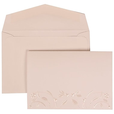 JAM Paper® Wedding Invitation Set, Small, 3.38 x 4.75, White Card with Embossed Flowers, White Envelopes, 100/Pack (306224781)