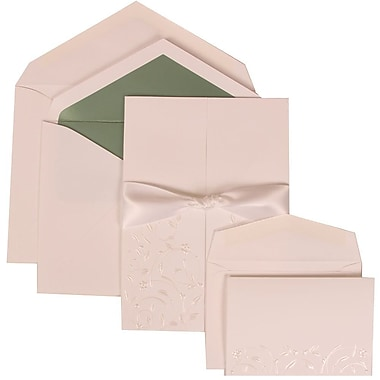 JAM Paper® Wedding Invitation Combo, 1 Sm 1 Lg, White Cards, Heart Garden, Ribbon, Green Lined Envelope, 150/pack (306224782)