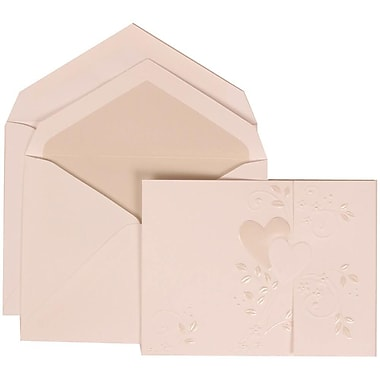 JAM Paper® Wedding Invitation Set, Large, 5.5 x 7.75, White with Crystal Lined Envelopes and Heart Vine, 50/Pack (306324783)
