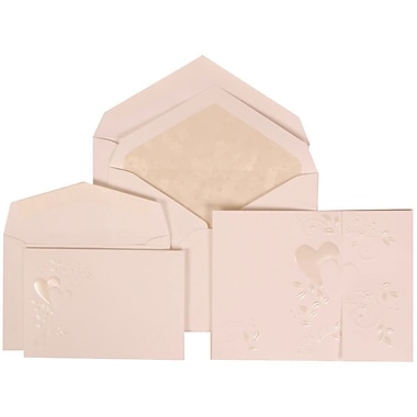 JAM Paper® Wedding Invitation Combo, 1 Sm 1 Lg, White Cards, Heart Vine Border, Crystal Lined Envelopes, 150/pack (306324787)