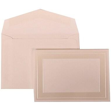 JAM Paper® Wedding Invitation Set, Small, 3.38 x 4.75, White Cards with Ivory Border, White Envelopes, 100/Pack (306424789)