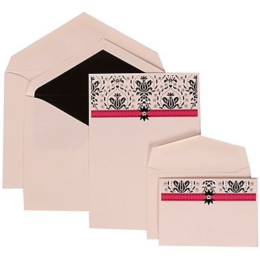 JAM Paper® Wedding Invitation Combo, 1 Sm 1 Lg, White Cards, Pink Band, Design, Black Lined Envelopes, , 150/pack (306724813)