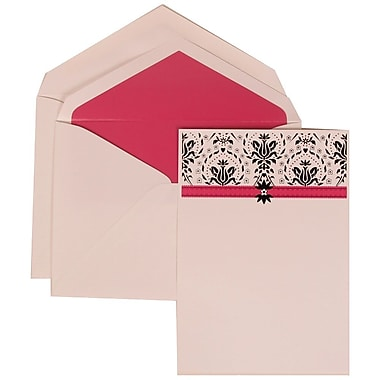 JAM Paper® Wedding Invitation Set, Large, 5.5 x 7.75, Pink with Pink Lined Envelopes and Blue and Pink Band, 50/Pack (306724814)