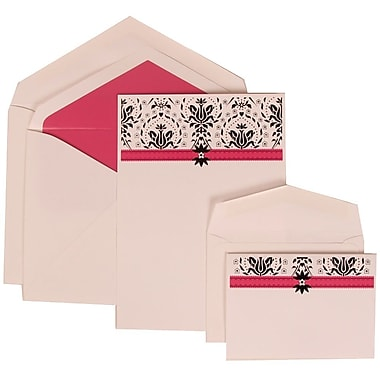 JAM Paper® Wedding Invitation Combo, 1 Sm 1 Lg, Ivory Cards with Pink Band Design, Pink Lined Envelopes, 150/pack (306724815)