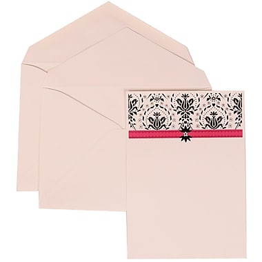 JAM Paper® Wedding Invitation Set, Large, 5.5 x 7.75, Pink Card, Flower Accent Border, Pink Lined Envelopes, 50/Pack (306724816)