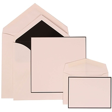 JAM Paper® Wedding Invitation Combo Sets, 1 Sm 1 Lg, White Cards with Black Border, Black Lined Envelopes, 150/Pack (306824820)