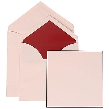 JAM Paper® Wedding Invite Set, Large Square, 6.25 x 6.25, White Cards, Black Border, Red Lined Envelopes, 50/pack (306824821)