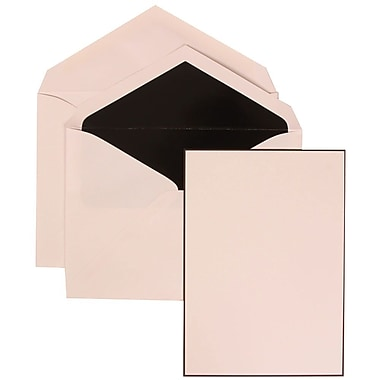 JAM Paper® Wedding Invite Set, Large, 5.5 x 7.75, White Card, Black Border Floral, Black Lined Envelopes, 50/pack (306924827)