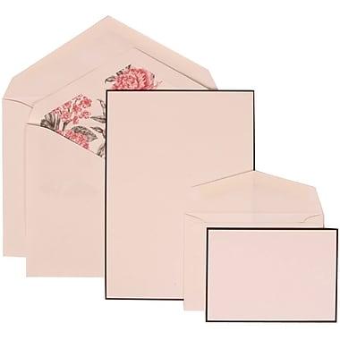 JAM Paper® Wedding Invitation Combo, 1 Sm 1 Lg, White, Black Border Floral, Pink Floral Lined Envelopes, 150/pack (306924830)