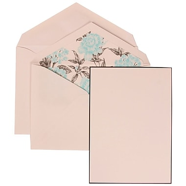 JAM Paper® Wedding Invite Set, Large, 5.5 x 7.75, White, Black Border Floral, Blue Floral Lined Envelopes, 50/pack (306924831)