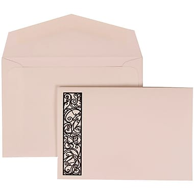 JAM Paper® Wedding Invite Set, Small, 3 3/8 x 4 3/4, White Card, Black Intricate Panel, White Envelopes, 100/pack (307024834)