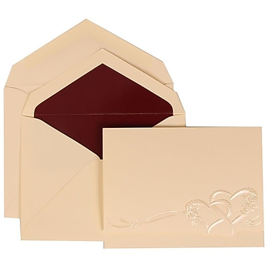 JAM Paper® Wedding Invite Set, Large, 5.5 x 7.75, Ivory, Entwined Hearts Design, Burgundy Lined Envelopes, 50/pack (307124842)